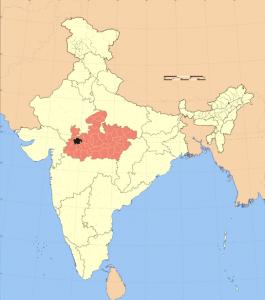 UjjainOnIndiaMap